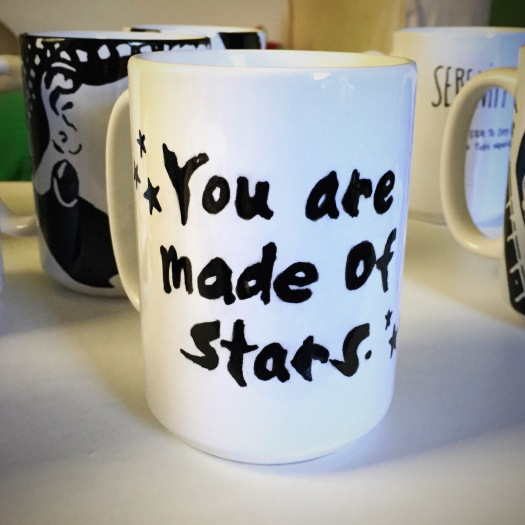 You are made of stars. Hand painted mug from Sconnie Life on Etsy.