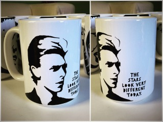 David Bowie Hand painted mug from Sconnie Life on Etsy.