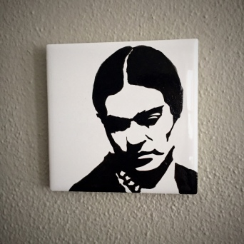 Frida Kahlo Hand painted tiles from Sconnie Life on Etsy.