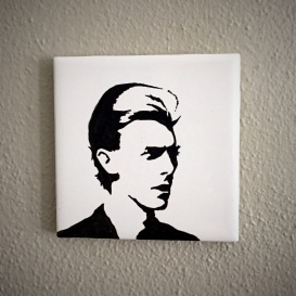 David Bowie Hand painted tiles from Sconnie Life on Etsy.