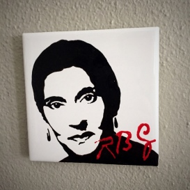 Ruth Bader Ginsburg Hand painted tiles from Sconnie Life on Etsy.