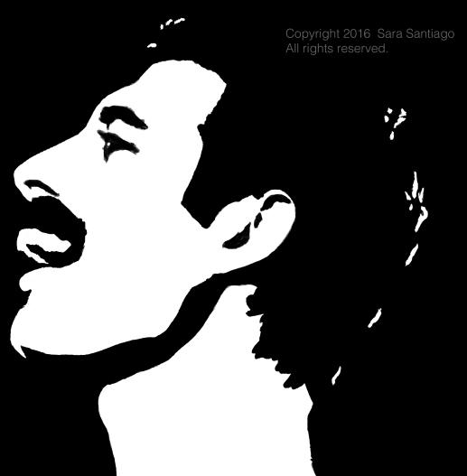 Freddie Mercury #BeBraveBrain Original painting by Sara Santiago