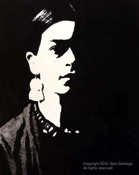 Frida Kahlo #BeBraveBrain Original painting by Sara Santiago