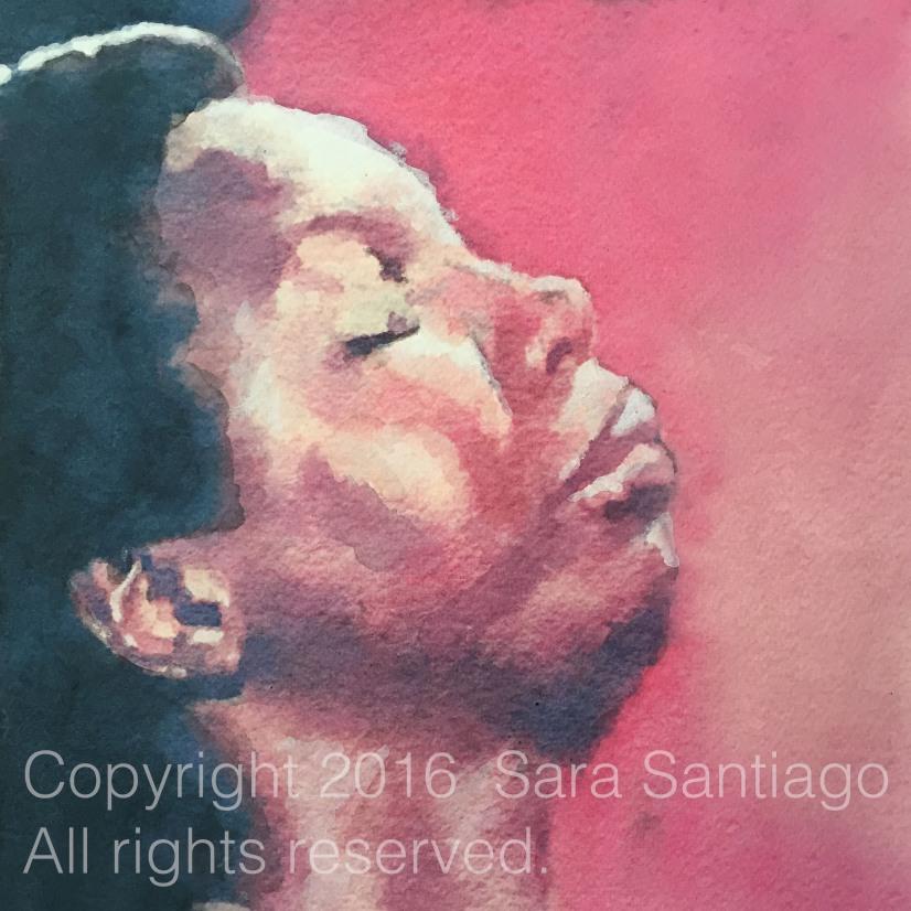 Nina Simone series #BeBraveBrain Original painting by Sara Santiago